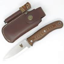 TBS Boar Folding Lock Knife - Natural Micarta with Firesteel Belt Pouch